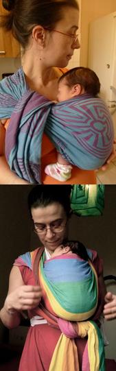 Echarpe de portage et ring sling pour porter un nouveau né