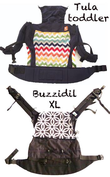 Visuel Tula Toddler ( en haut ) et Buzzidil XL ( en bas )
